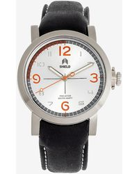 Express Shield Berge Leather-band Diver Watch Silver - Metallic