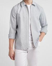 Express Striped Seersucker Shirt Jacket - Blue