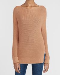 Express Thermal Stitch Oversized Tunic Sweater Brown Xxs