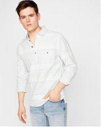 Express - Slim Multicolor Stripe Linen-blend Popover Shirt - Lyst