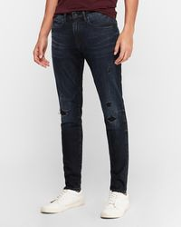 Express Skinny Dark Wash Ripped Hyper Stretch Jeans, Size:w28 L32 - Blue