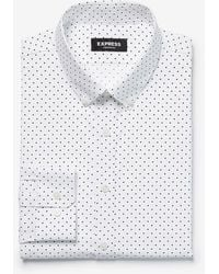 Express Slim Dot 365 Comfort Stretch+ Dress Shirt White Xs