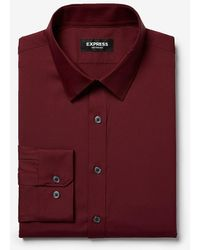 Express Extra Slim Solid Wrinkle-resistant Performance Dress Shirt Red Xs