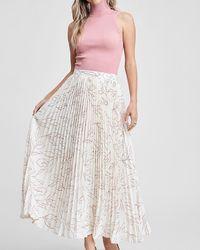 Express En Saison Floral Print High Waisted Pleated Maxi Skirt Off White