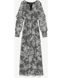 Express Paisley Smocked Waist Long Sleeve Maxi Dress Black Print - Grey