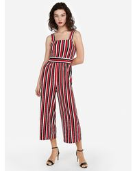 Express Stripe Square Neck Jumpsuit Red Stripe