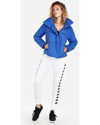 Express Fold-over Collar Puffer Coat Blue