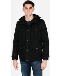 Express Wool-blend Hooded Four-pocket Coat Black