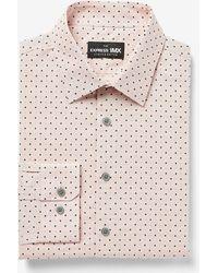 Express Extra Slim Dot Print Stretch Cotton 1mx Dress Shirt Brown L - Multicolour