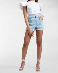 Express Super High Waisted Double Rolled Mom Jean Shorts Blue 4