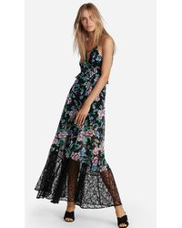Express Floral Strappy Lace-up Maxi Dress Black Print