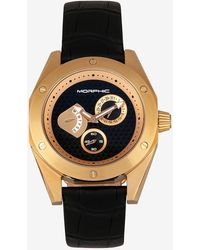 Express Morphic M46 Series Leather Band Watch Gold - Metallic