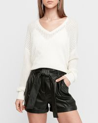 Express Super High Waisted Faux Leather Paperbag Shorts - White