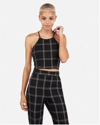 Express - Plaid Cropped Halter Top - Lyst