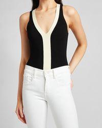 Express Contrast Trim V-neck Thong Bodysuit Jumper Pitch Black
