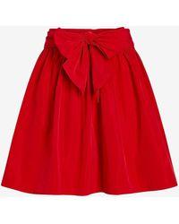 Express High Waisted Taffeta Bow Mini Skirt Red 0