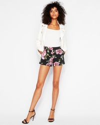 Express Mid Rise Floral Shorties Black Print