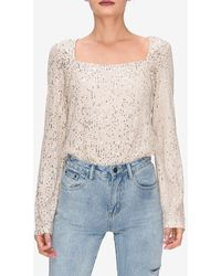 Express Endless Rose Square Neck Sequin Top White S