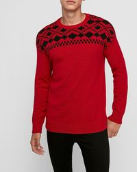 Express Wool-blend Fair Isle Crew Neck Jumper Red Xs