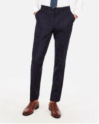 Express - Slim Navy Plaid Luxury 100% Wool Suit Trousers - Lyst