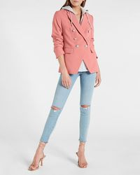Express Supersoft Twill Double Breasted Blazer With Built In Hoodie Pink Xs