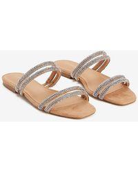 Express Embellished Rhinestone Double Strap Slide Sandals Pink 6