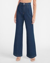 Express Super High Waisted Dark Wash Wide Leg Palazzo Jeans, Size:00 Short - Blue