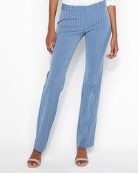Express - Low Rise Stripe Barely Boot Editor Pant Blue Stripe - Lyst