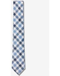 Express Narrow Checkered Silk Tie Blue Reg
