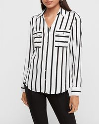 Express Slim Striped Military Utility Portofino Shirt Black And White Stripe Xs