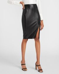 Express High Waisted Crocodile Embossed Pencil Skirt Black 00