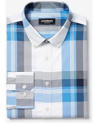 Express Classic Plaid Wrinkle-resistant Performance Dress Shirt Blue Xs