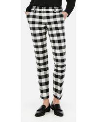 Express Low Rise Gingham Columnist Ankle Pant Black And White