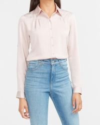 Express Satin Pleated Front Portofino Shirt Pink Xxs