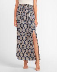 Express High Waisted Paisley Tie Front Slit Maxi Skirt Print Xxs - Black