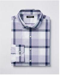 Express - Classic Fit Plaid Spread Collar Dress Shirt - Lyst