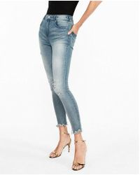 Express - Super High Waisted Stretch+ Denim Perfect Ankle Leggings - Lyst