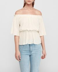 Express Off The Shoulder Pleated Top Ivory - White