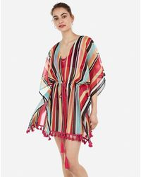 Express Striped Cinched Waist Kimono Swim Cover-up - Red
