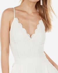 Express Lace Bodice Cami Jumpsuit White