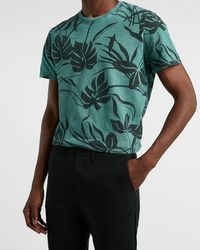 Express Floral Slub Crew Neck T-shirt - Green