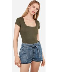 Express Super High Waisted Self Tie Utility Jean Shorts Blue 00