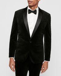 Express Slim Black Velvet Tuxedo Jacket Black