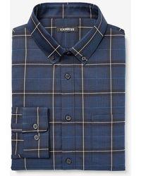 Express Slim Plaid Wrinkle-resistant Performance Dress Shirt - Blue