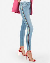 Express - High Waisted Denim Perfect Side Stripe Ankle Leggings Blue - Lyst