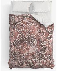 Express Deny Designs Jacqueline Maldonado Floral Comforter Brown Queen