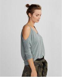 Express - Burnout Cold Shoulder V-neck Tee - Lyst