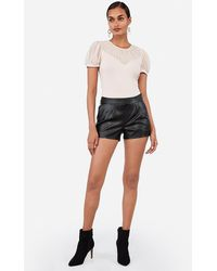 Express Mid Rise Faux Leather Pleated Shorts Black 4