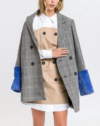 Express English Factory Faux Fur Plaid Coat Multi - Multicolour