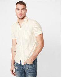 Express - Slim Striped Button Collar Short Sleeve Shirt - Lyst